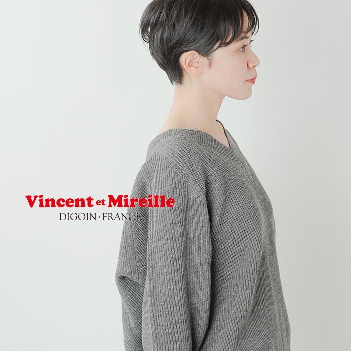 Vincent et Mireille(ヴァンソン エ ミレイユ)8GG畦編みウールVネックニットプルオーバー vm202wa13072