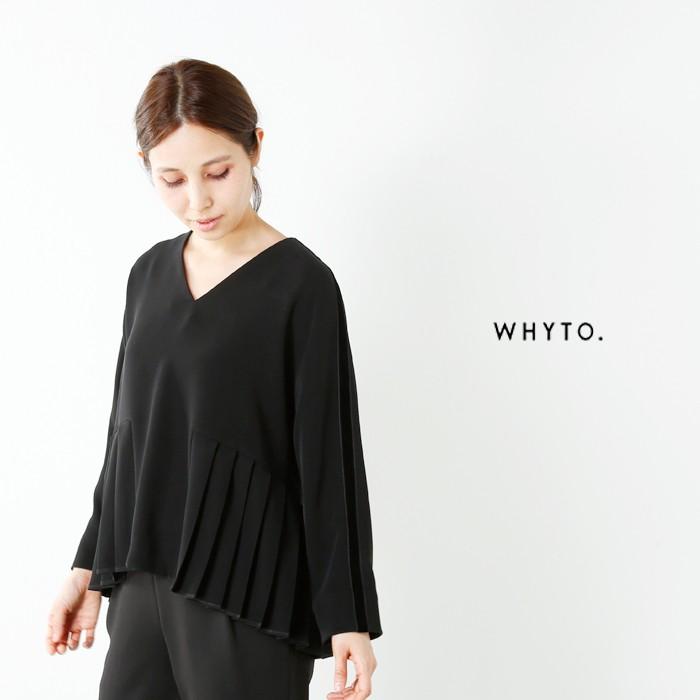 whyto(ホワイト)Vネックベロアラインプリーツブラウスwht17fbl2