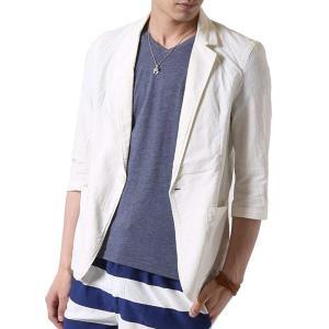 2021 春夏 サマージャケット メンズ 綿麻 テーラードジャケット 夏 リネン ジャケット メンズ 7分袖ジャケット 夏男 トップス|ARCADE