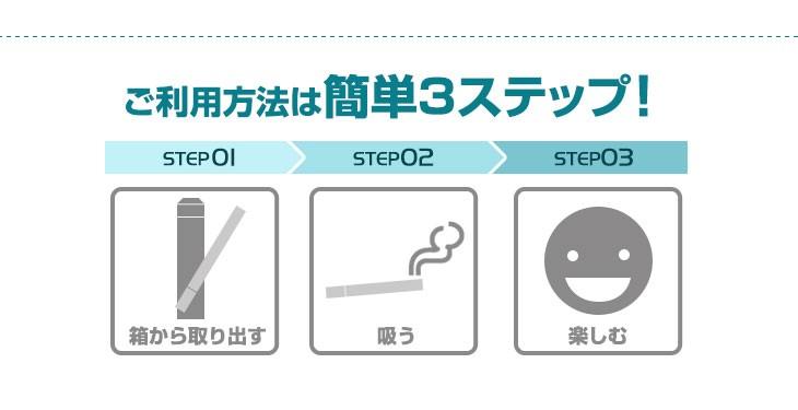 ご利用方法は簡単3ステップ step01:箱から取り出すstep02:吸うstep03:楽しむ