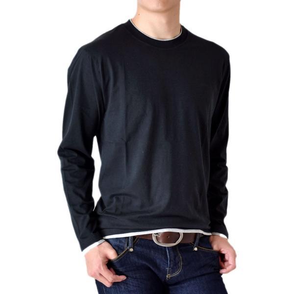 長袖Tシャツ ロングTシャツ メンズ フェイクレイヤード無地ロンT セール 送料無料 通販M《M1.5》 aronacasual 16