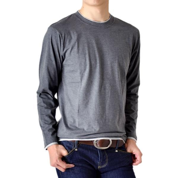 長袖Tシャツ ロングTシャツ メンズ フェイクレイヤード無地ロンT セール 送料無料 通販M《M1.5》 aronacasual 17