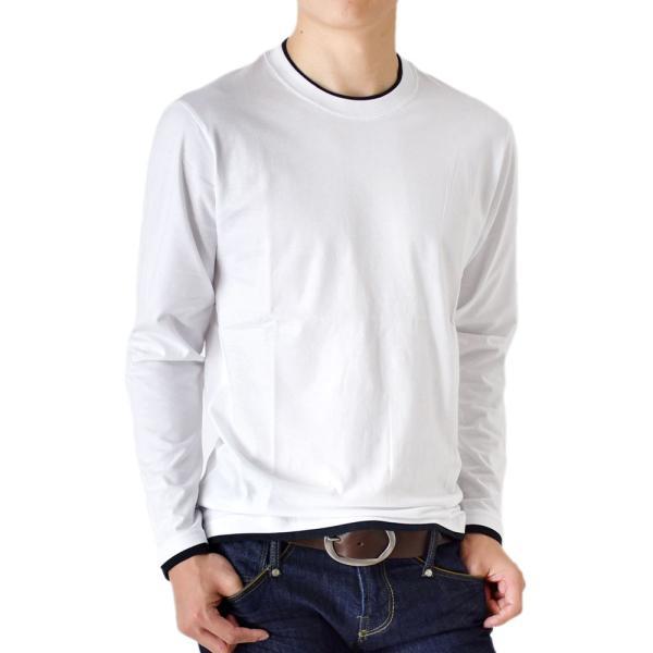 長袖Tシャツ ロングTシャツ メンズ フェイクレイヤード無地ロンT セール 送料無料 通販M《M1.5》 aronacasual 18