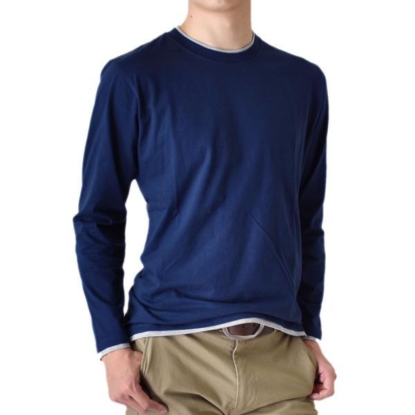 長袖Tシャツ ロングTシャツ メンズ フェイクレイヤード無地ロンT セール 送料無料 通販M《M1.5》 aronacasual 19