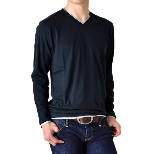 長袖Tシャツ ロングTシャツ メンズ フェイクレイヤード無地ロンT セール 送料無料 通販M《M1.5》 aronacasual 22