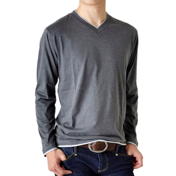 長袖Tシャツ ロングTシャツ メンズ フェイクレイヤード無地ロンT セール 送料無料 通販M《M1.5》 aronacasual 23