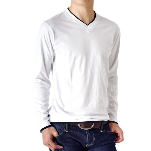 長袖Tシャツ ロングTシャツ メンズ フェイクレイヤード無地ロンT セール 送料無料 通販M《M1.5》 aronacasual 24