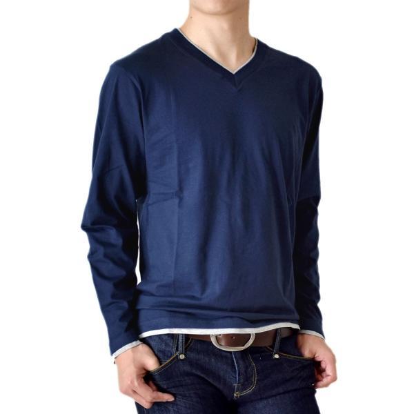 長袖Tシャツ ロングTシャツ メンズ フェイクレイヤード無地ロンT セール 送料無料 通販M《M1.5》 aronacasual 25