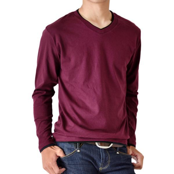 長袖Tシャツ ロングTシャツ メンズ フェイクレイヤード無地ロンT セール 送料無料 通販M《M1.5》 aronacasual 27