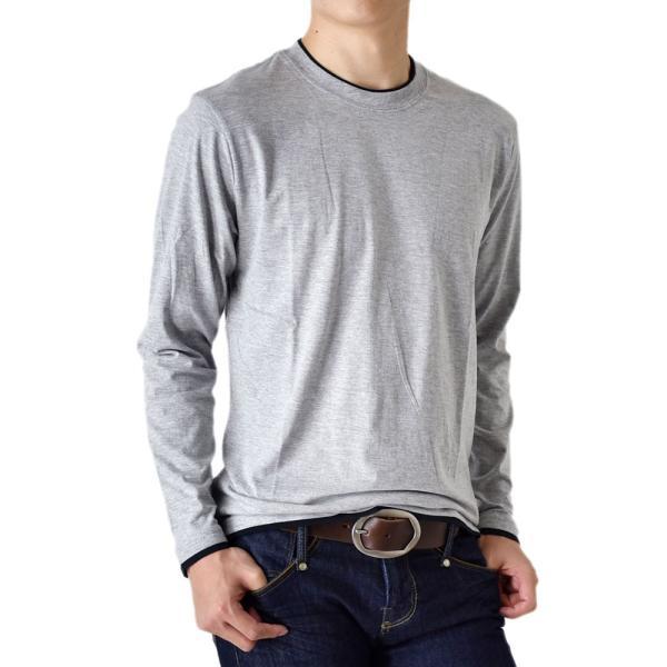 長袖Tシャツ ロングTシャツ メンズ フェイクレイヤード無地ロンT セール 送料無料 通販M《M1.5》 aronacasual 32