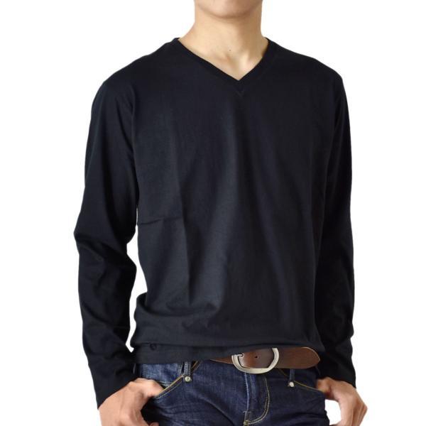 ストレッチTシャツ 無地 長袖Tシャツ ロングTシャツ クルー Vネック メンズ 送料無料 通販M《M1.5》|aronacasual|27