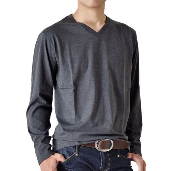 ストレッチTシャツ 無地 長袖Tシャツ ロングTシャツ クルー Vネック メンズ 送料無料 通販M《M1.5》|aronacasual|30