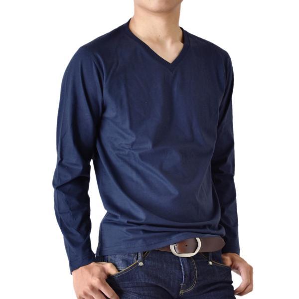 ストレッチTシャツ 無地 長袖Tシャツ ロングTシャツ クルー Vネック メンズ 送料無料 通販M《M1.5》|aronacasual|28