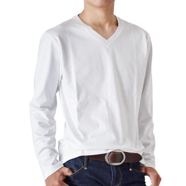 ストレッチTシャツ 無地 長袖Tシャツ ロングTシャツ クルー Vネック メンズ 送料無料 通販M《M1.5》|aronacasual|26