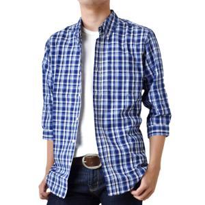 チェックシャツ メンズ シャツ 7分袖 七分袖 ボタンダウン 送料無料 通販Y アローナ