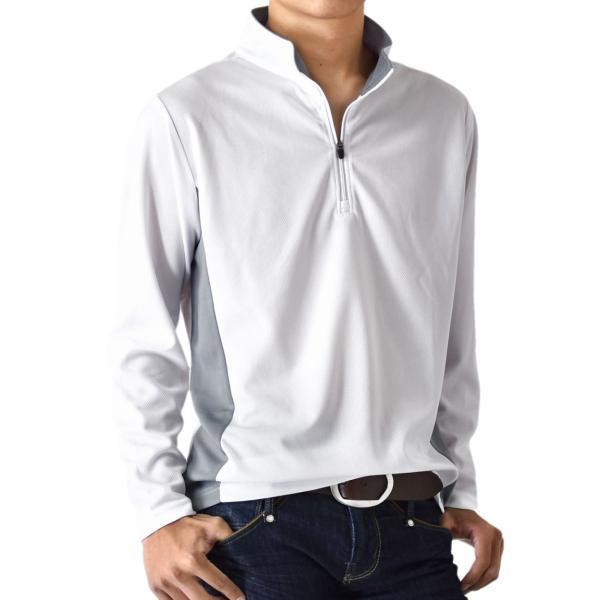 ドライ 伸縮 ストレッチ 吸汗速乾 ハーフジップカットソー 長袖Tシャツ メンズ 送料無料 通販M《M1.5》|aronacasual|14