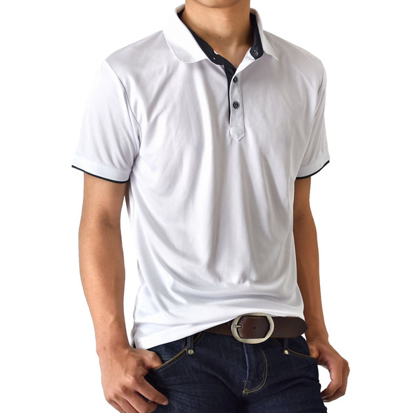 DRYストレッチ 吸汗速乾 ポロシャツ カラー配色 半袖 メンズ 送料無料 通販M《M1.5》 aronacasual 22