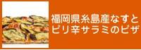 福岡県糸島産なすとピリ辛サラミのピザ