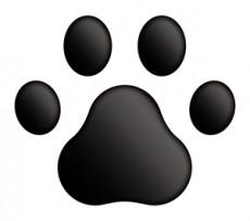 3Dステッカー 肉球Aタイプ/黒