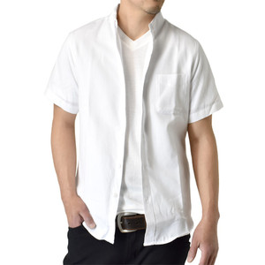 シャツ メンズ ボタンダウン カジュアル ミリタリー オックスフォード セール 半袖  クールビズ 開襟シャツ アルージェ