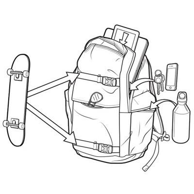多数のポケットを装備した収納力抜群なバックパック