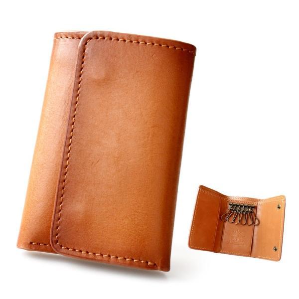 キーケース レザー 本革 6連キーケース 三つ折り シンプル カードケース 定期入れ 札入れ 焦がし染色|asianarts|13