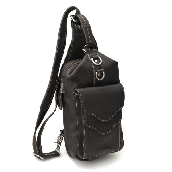 ボディバッグ レザー メンズ 本革 ダブルフリップポケット 持ち手付 大容量 斜めがけ ワンショルダーバッグ