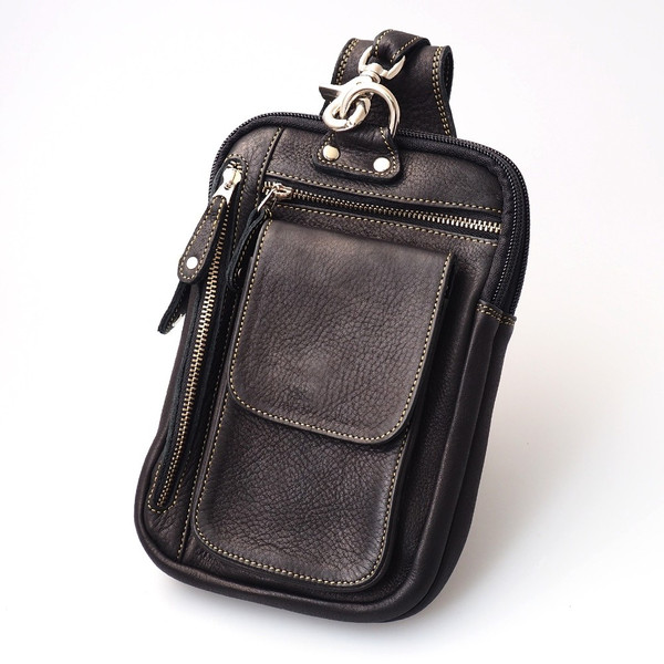 ベルトポーチ レザー メンズ 本革 ウエストバッグ 長財布 iPhone8plus対応 ヒップバッグ|asianarts|13
