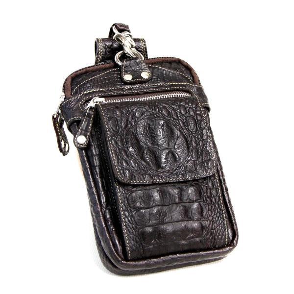 ベルトポーチ レザー メンズ 本革 ウエストバッグ クロコダイル型押し フリップポケット ヒップバッグ|asianarts|10