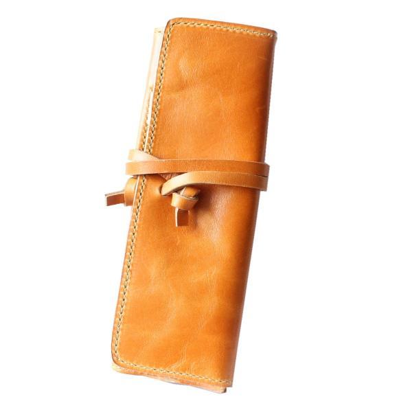 ペンケース 本革 ロール型ペンケース イタリアンレザー 三つ折り 革紐留め プルームテックケース|asianarts|20