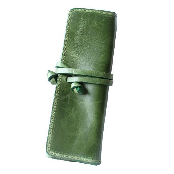 ペンケース 本革 ロール型ペンケース イタリアンレザー 三つ折り 革紐留め プルームテックケース|asianarts|22