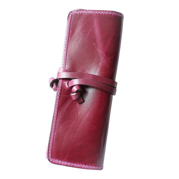 ペンケース 本革 ロール型ペンケース イタリアンレザー 三つ折り 革紐留め プルームテックケース|asianarts|24