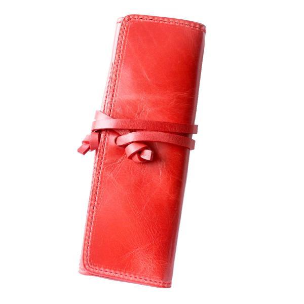 ペンケース 本革 ロール型ペンケース イタリアンレザー 三つ折り 革紐留め プルームテックケース|asianarts|25