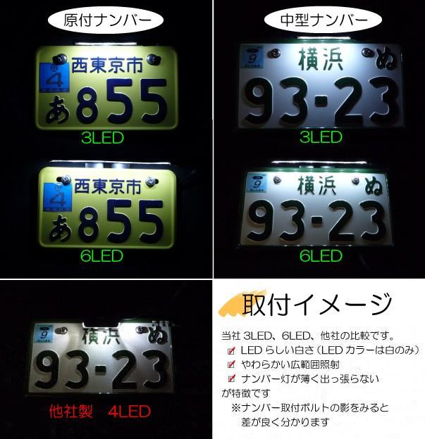 LED3連でも、LED6連でも、車検には充分の明るさです。