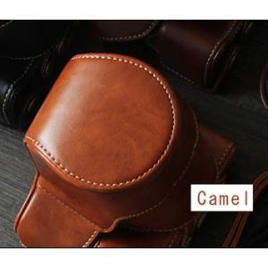 レザーカメラケース CANON EOS M100 M10 M2 M 対応 お揃いカラーのストラップ付き 専用ケースでぴったりフィット asianzakka 16