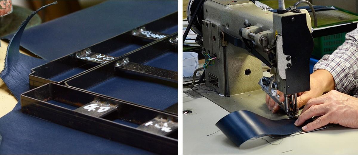 革の繊維の方向、硬さ、質感を吟味し、最も適している部分だけを切り抜きます。