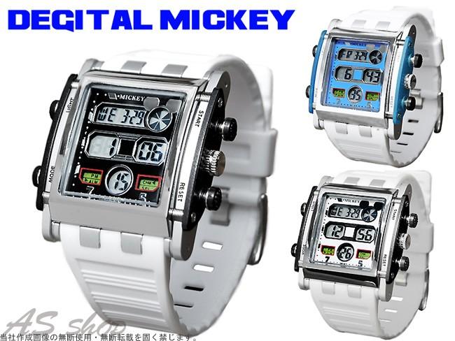 ミッキー 腕時計 デジタルウォッチ メンズ レディース キッズ スクエアタイプ