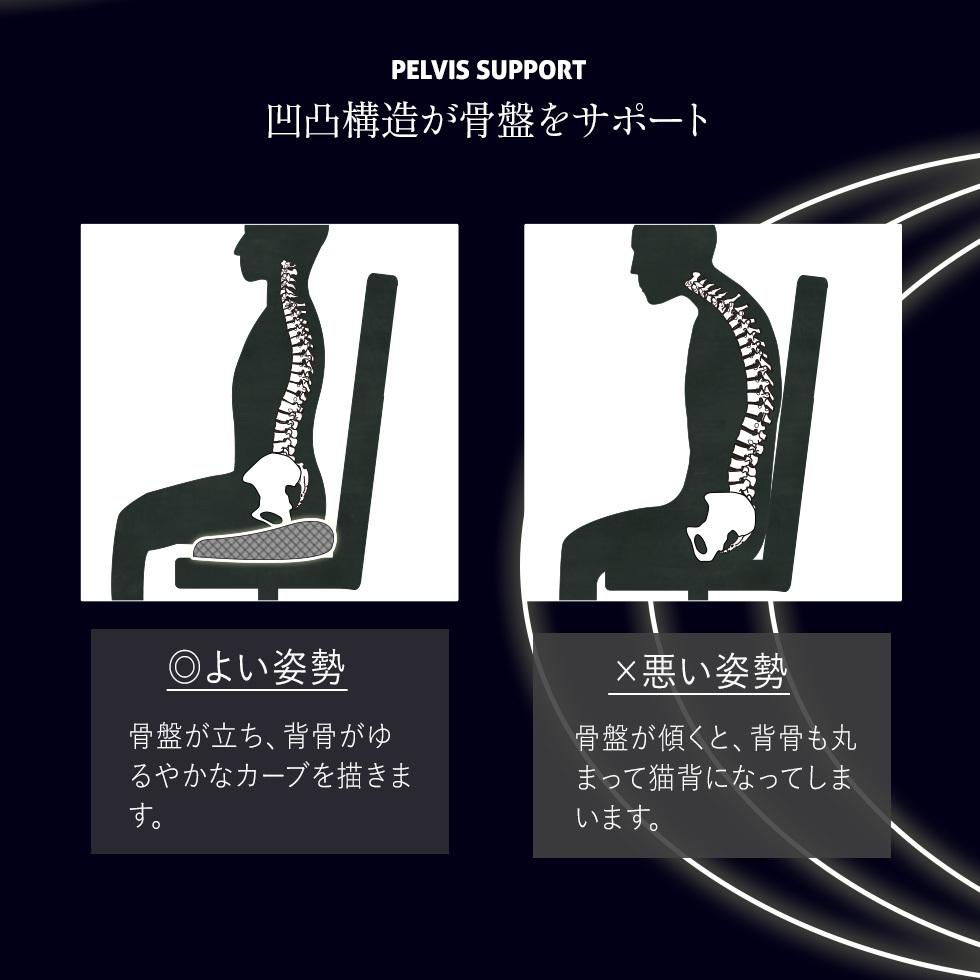 凹凸構造が骨盤をサポート。骨盤が立ち、背骨が緩やかなカーブを描きます。