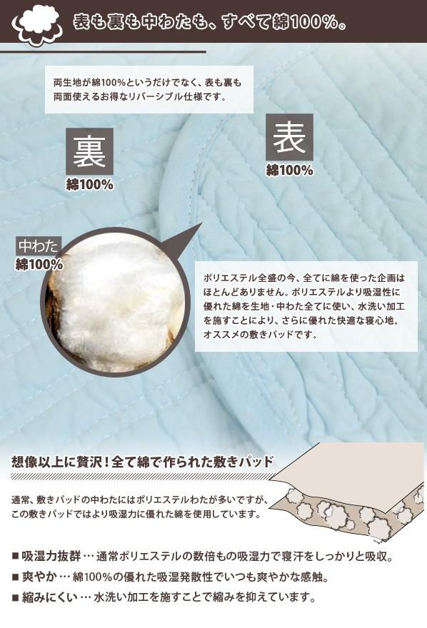 全て綿100%の敷きパッド