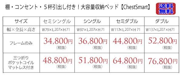 棚&コンセント付きチェストベッド【CheトスマstSmart】チェストスマート 【送料無料!】