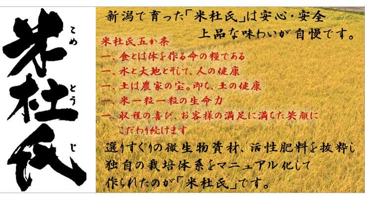 新潟の米杜氏は選りすぐりの環境保全肥料に独自の栽培体系で作られた美味しいお米です