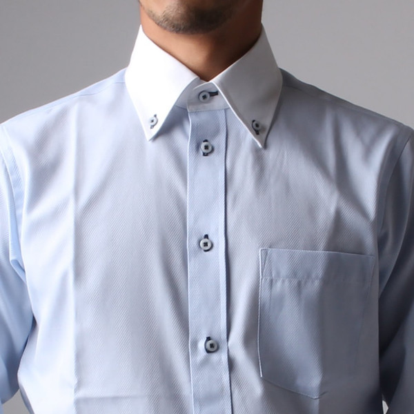 ワイシャツ メンズ 長袖 Yシャツ ボタンダウン ビジネス シャツ おしゃれ ホリゾンタル クレリック セミワイド  クールビズ ybd 宅配便のみ|atelier365|38