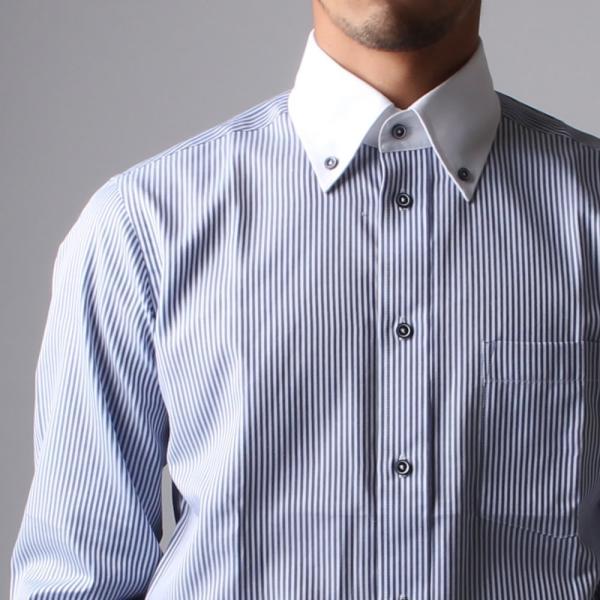 ワイシャツ メンズ 長袖 Yシャツ ボタンダウン ビジネス シャツ おしゃれ ホリゾンタル クレリック セミワイド  クールビズ ybd 宅配便のみ|atelier365|39