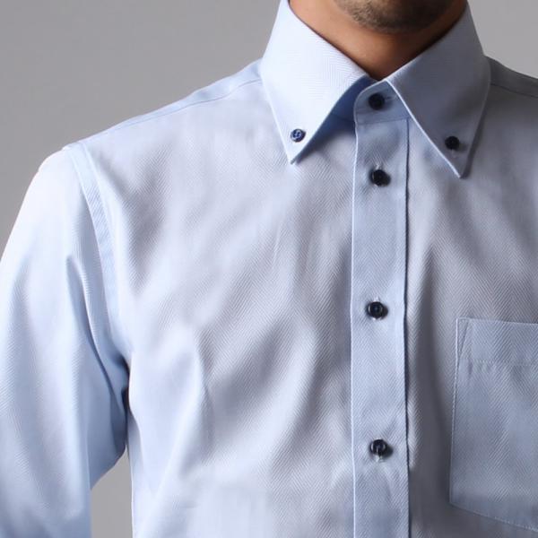 ワイシャツ メンズ 長袖 Yシャツ ボタンダウン ビジネス シャツ おしゃれ ホリゾンタル クレリック セミワイド  クールビズ ybd 宅配便のみ|atelier365|25