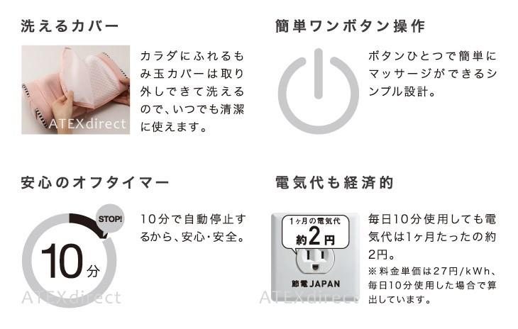 取り外して洗えるカバーでいつもキレイ。10分間自動オフタイマーで眠ってしまっても安心。電気代も毎日10分誓って、1ヶ月2円と経済的。