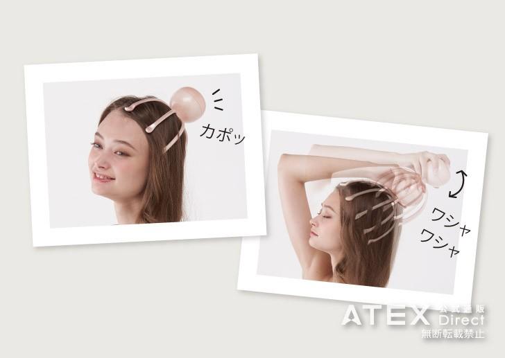 頭のカーブに沿った10本の3Dアーム。人の指のような丸い先端が頭皮に心地よくアプローチ。