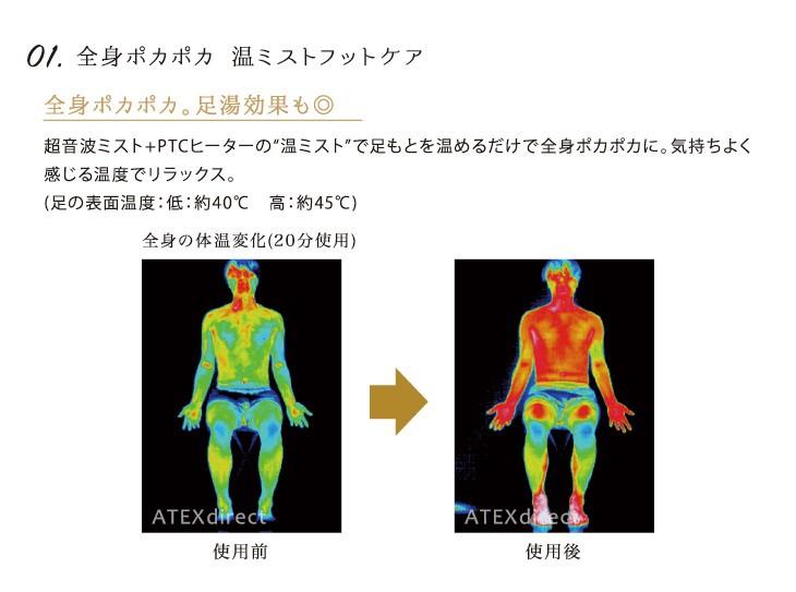 超音波ミスト+PTCヒーターの温ミストの足湯効果で全身ポカポカ。