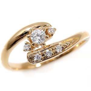 【送料無料】ピンキーリング:ダイヤモンドリング:ピンクゴールドK18:指輪:ダイヤモンド0.15ct:K18PG【工房直販】