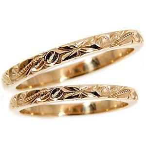【送料無料・結婚指輪】ハワイアンジュエリー:結婚指輪:ハワイアンペアリング:ピンクゴールドK18:スクロール(波):K18PG:結婚記念リング2本セット【工房直販】