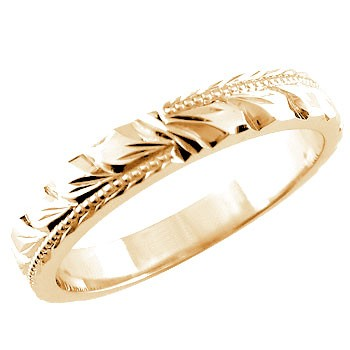 【送料無料】ハワイアンジュエリー:ハワイアンリング:指輪:ピンクゴールドk18:k18pg:マイレ:小指に記念にお守りとして:ハワイ【工房直販】